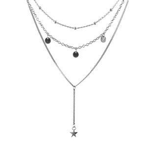 Colar-Triplo-Choker-Medalhas-Pendulo-Estrela-Prateado-01