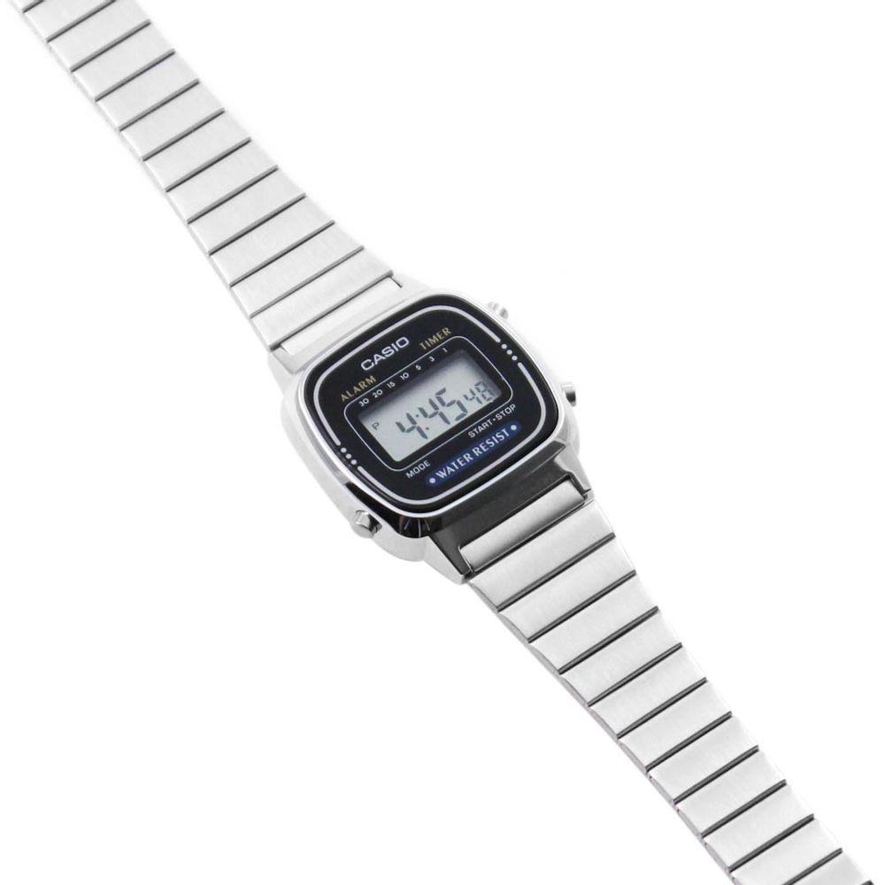 8f1876f4600 Relógio Casio Vintage Mini Preto Prateado • LA670WA-1DF • Laços de ...