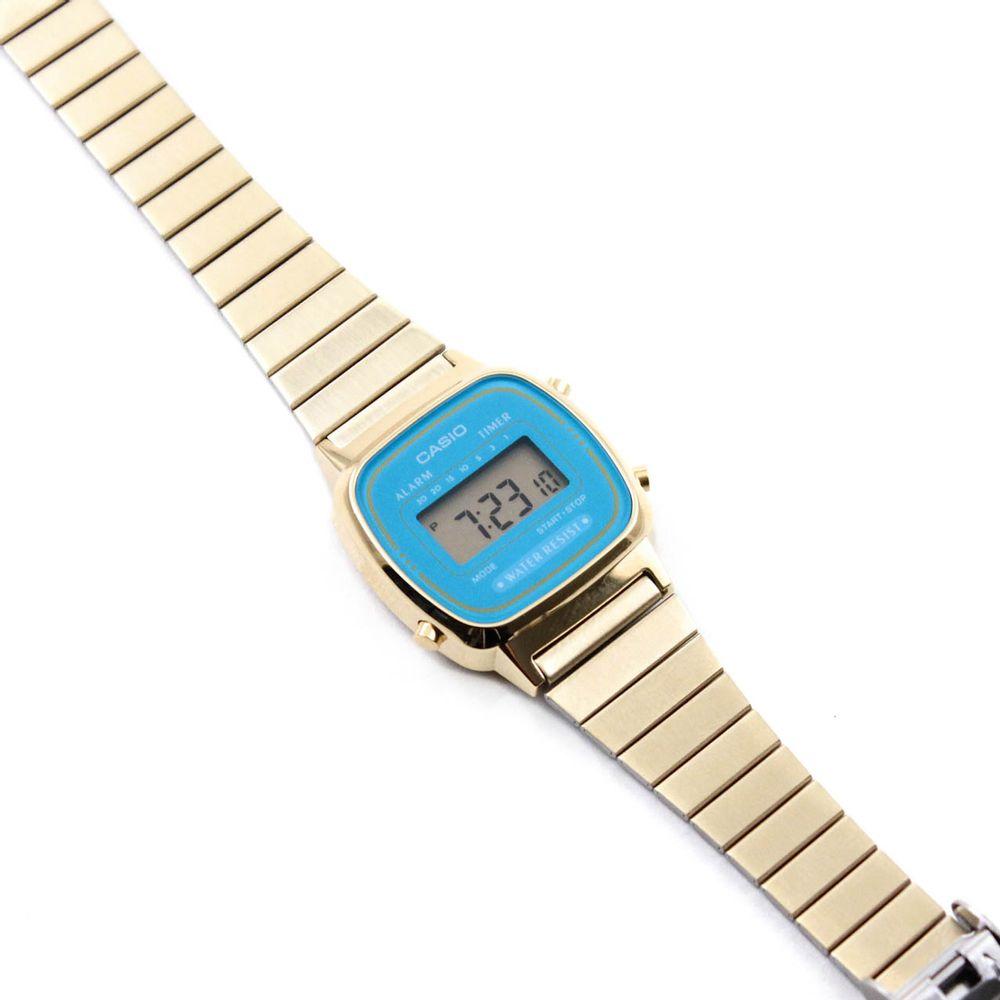 d7565e34743 Relógio Casio Vintage Mini Turquesa Dourado