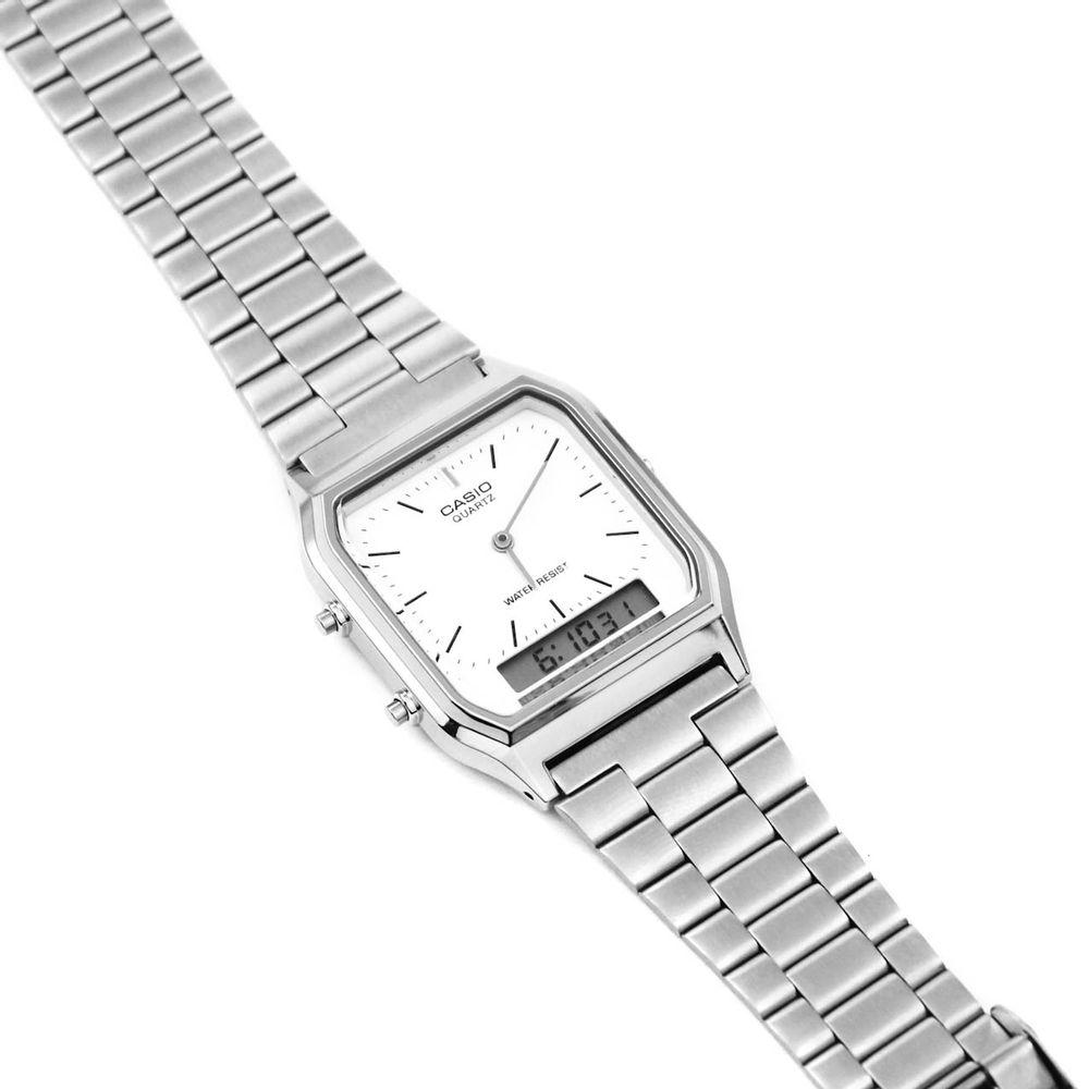 1ed8ccd72ed Relógio Casio Vintage Analógico Branco Prateado • AQ-230A-7DMQ ...