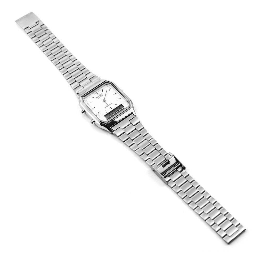 Relógio Casio Vintage Analógico Branco Prateado • AQ-230A