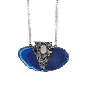 Colar-Agata-Azul-Triangulo-Prateado-01
