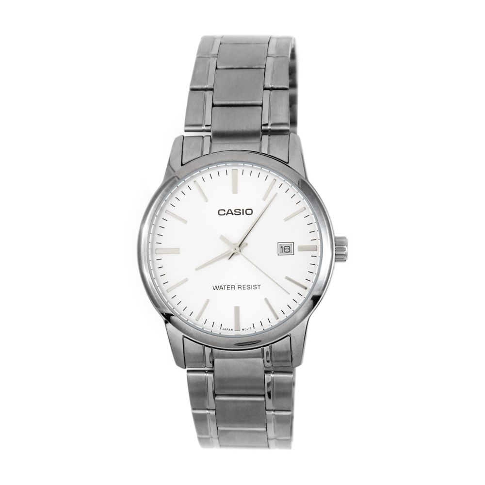 1368481704d Relógio Casio Vintage Redondo Branco Grande Prateado • MTP-V002D ...
