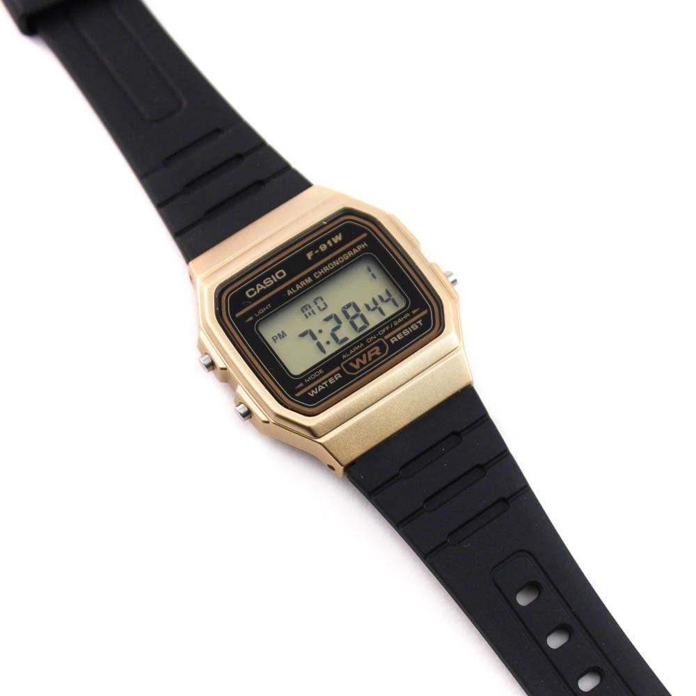 4f28325e701 Relógio Casio Vintage Digital Borracha Preto Dourado • F-91WM-9ADF ...