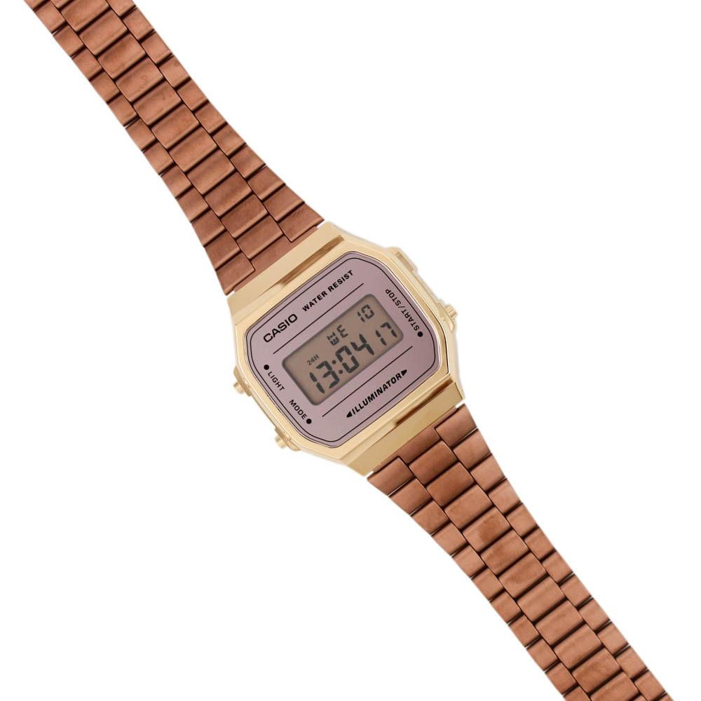 a526e8b867e Relógio Casio Vintage Tradicional Espelhado Dourado Rosé • A168WECM ...