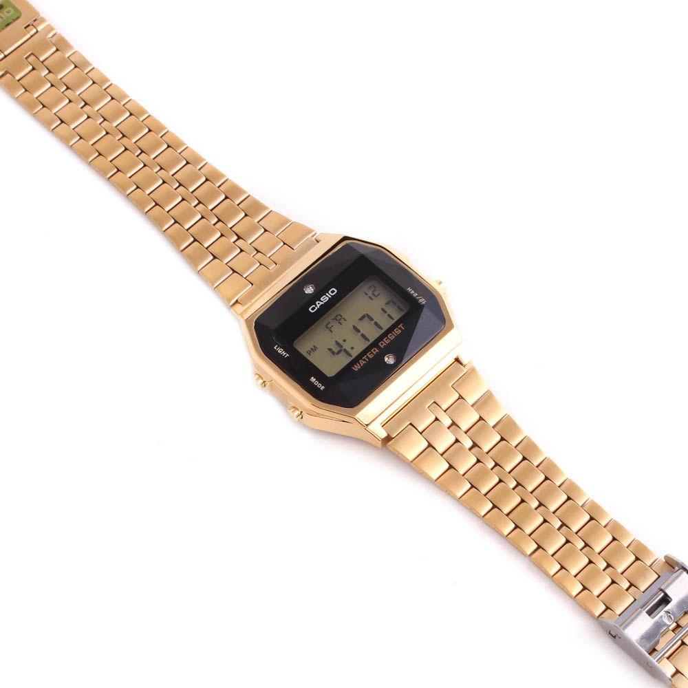04b6ba99b7a Relógio Casio Vintage Tradicional Diamond Dourado • A159WGED-1DF ...