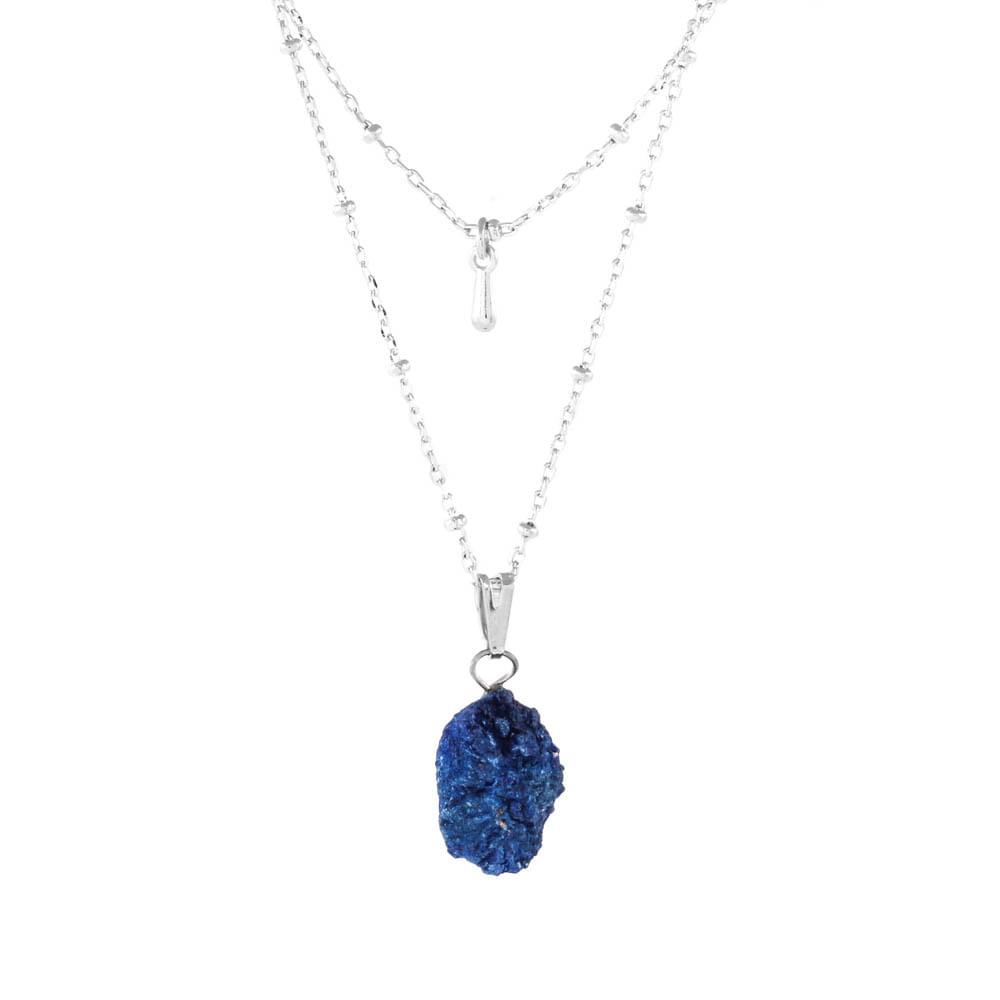 Colar-Duplo-Pedra-Azurita-Bruta-Gota-Pequeno-Prateado-Folheado-01
