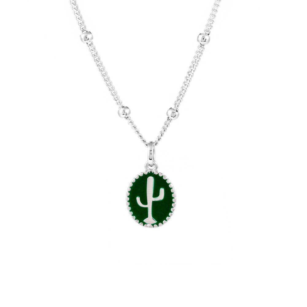 Colar-Medalha-Cacto-Verde-Bolinhas-Prateado-Folheado-01