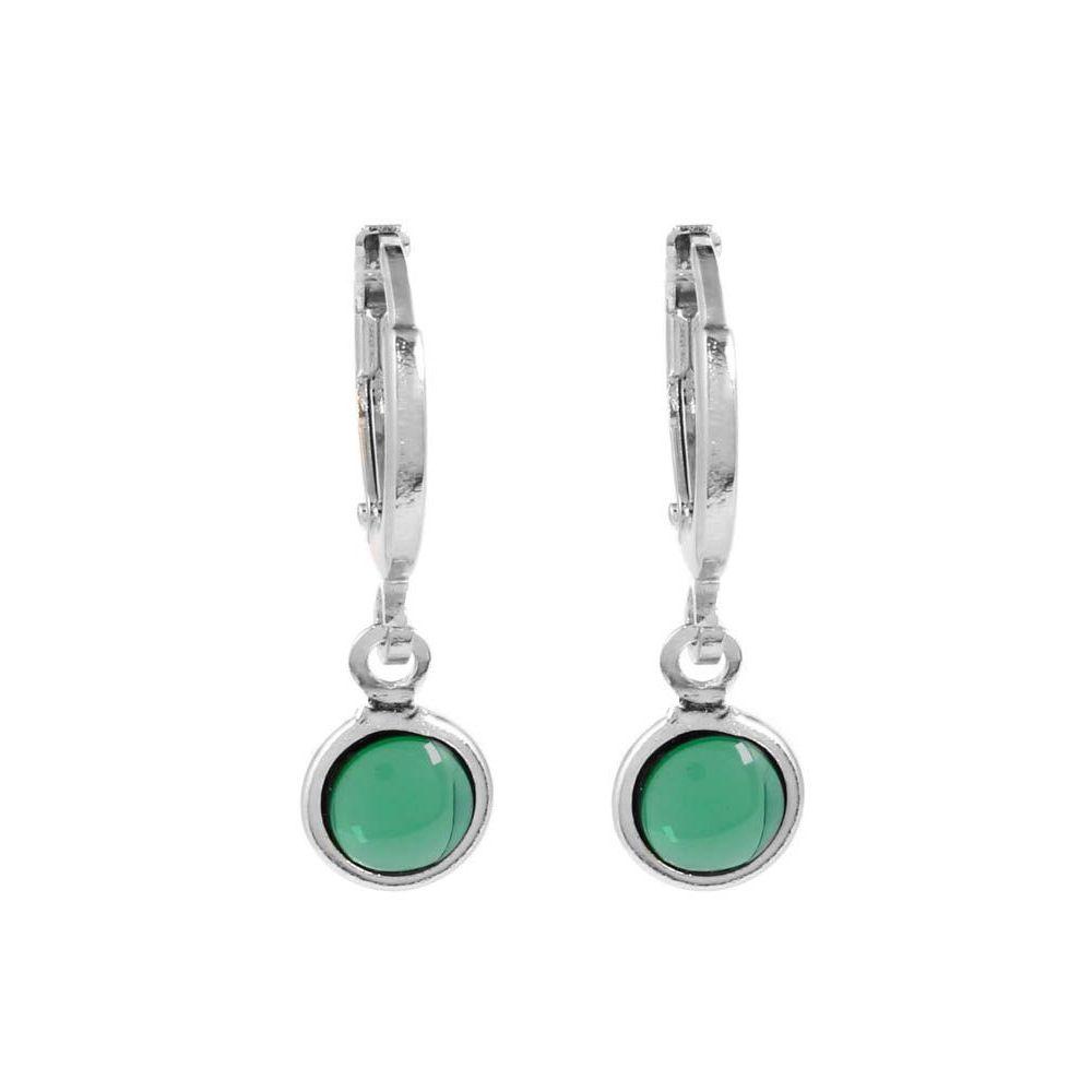 Brinco-Argola-Pedra-Redonda-Pequeno-Verde-Prateado-Folheado-01