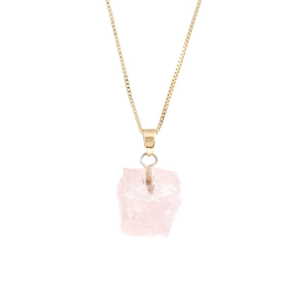 Colar-Quartzo-Rosa-Bruto-Pequeno-Curto-Dourado-Folheado-01