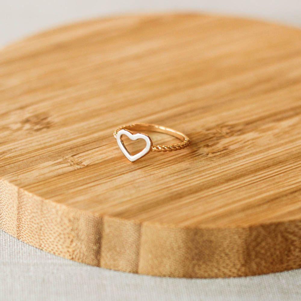 Anel Coração Vazado Prateado Aro Bolinha Dourado Folheado-8