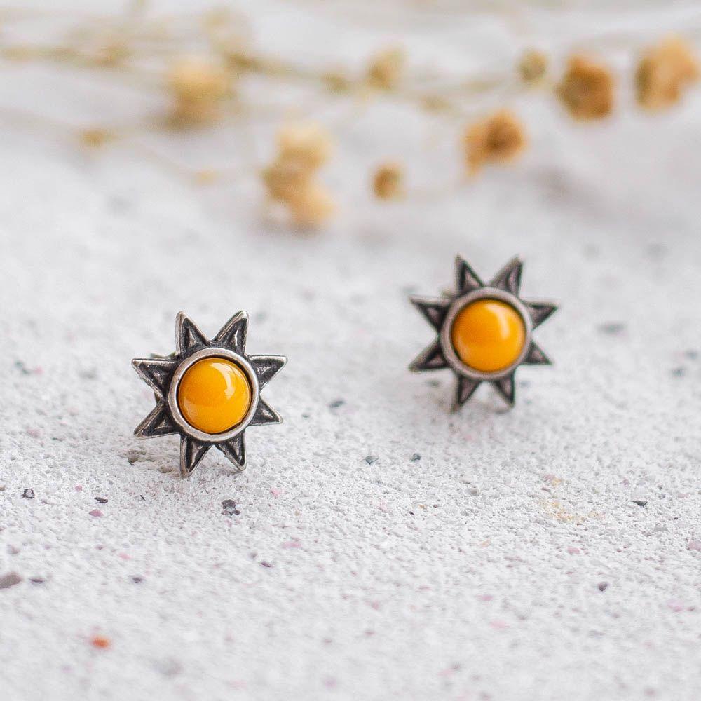 Brinco Sol Pedra Amarela Pequeno Prateado